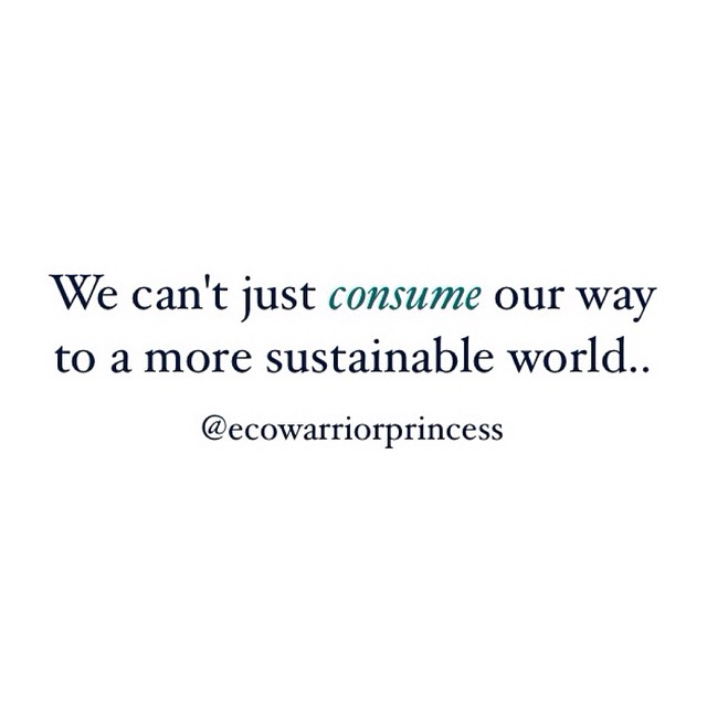 We can't just consume our way to a more sustainable world - sustainability quote - jennifer nini
