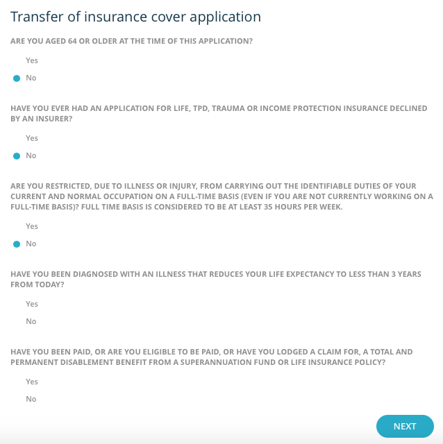 Australian Ethical Super - stuck on insurance question