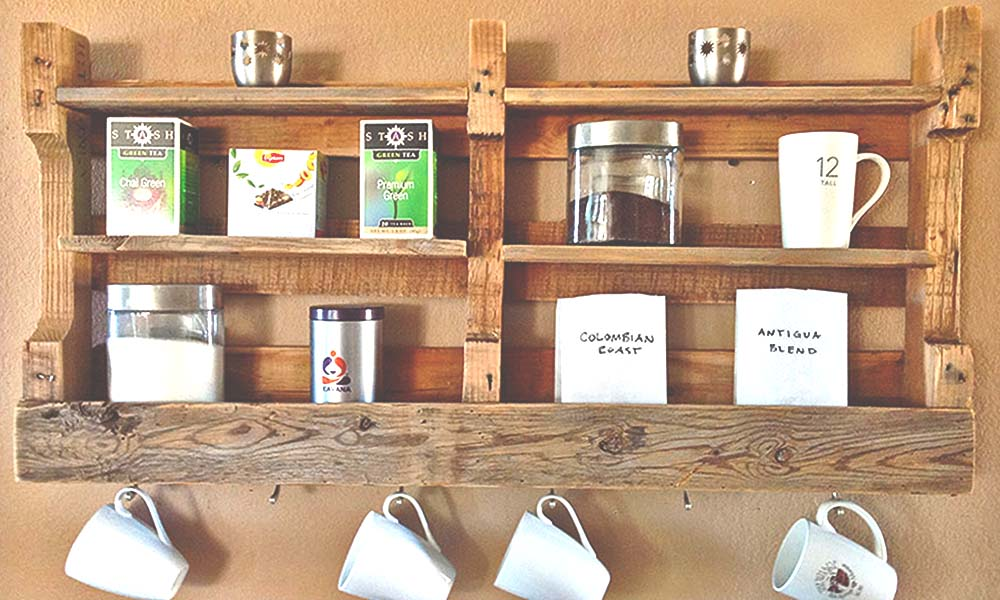 7 Pallet and Reclaimed Wood Furniture Projects to Try at Home 6 shelving from Scoutmob