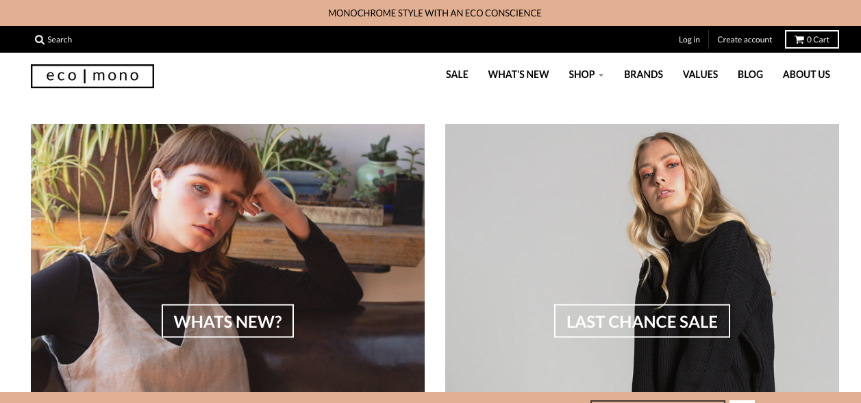 ecomono monochrome eco fashion online marketplace