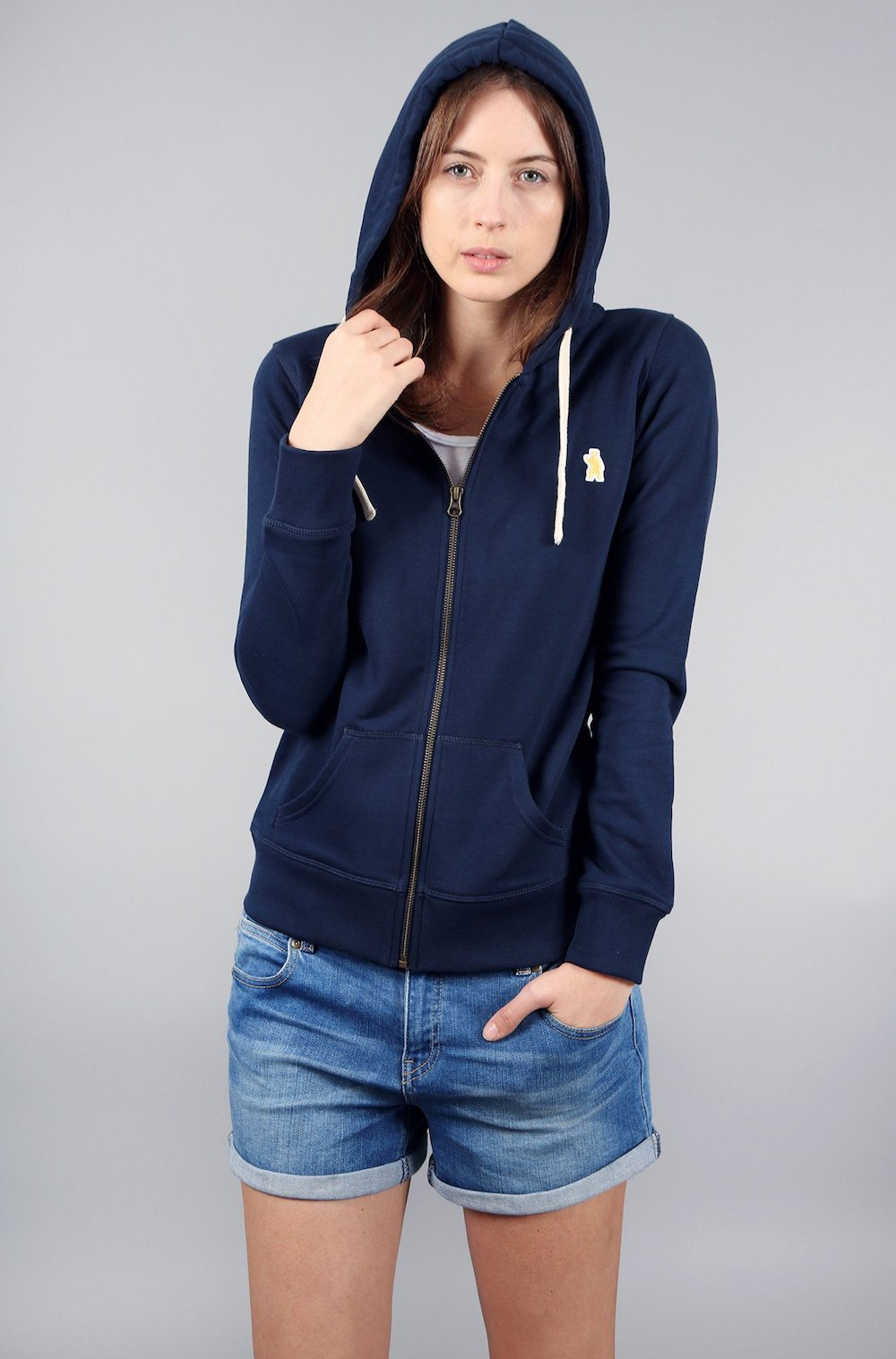 Absolutely Bear The Corsic Navy Organic Cotton Zipped Eco Friendly Ethical Hoodie