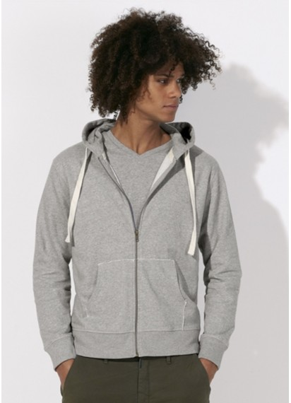 Fairtees Wanderer Heather Grey Men's Zip Organic Cotton Ethical Hoodie