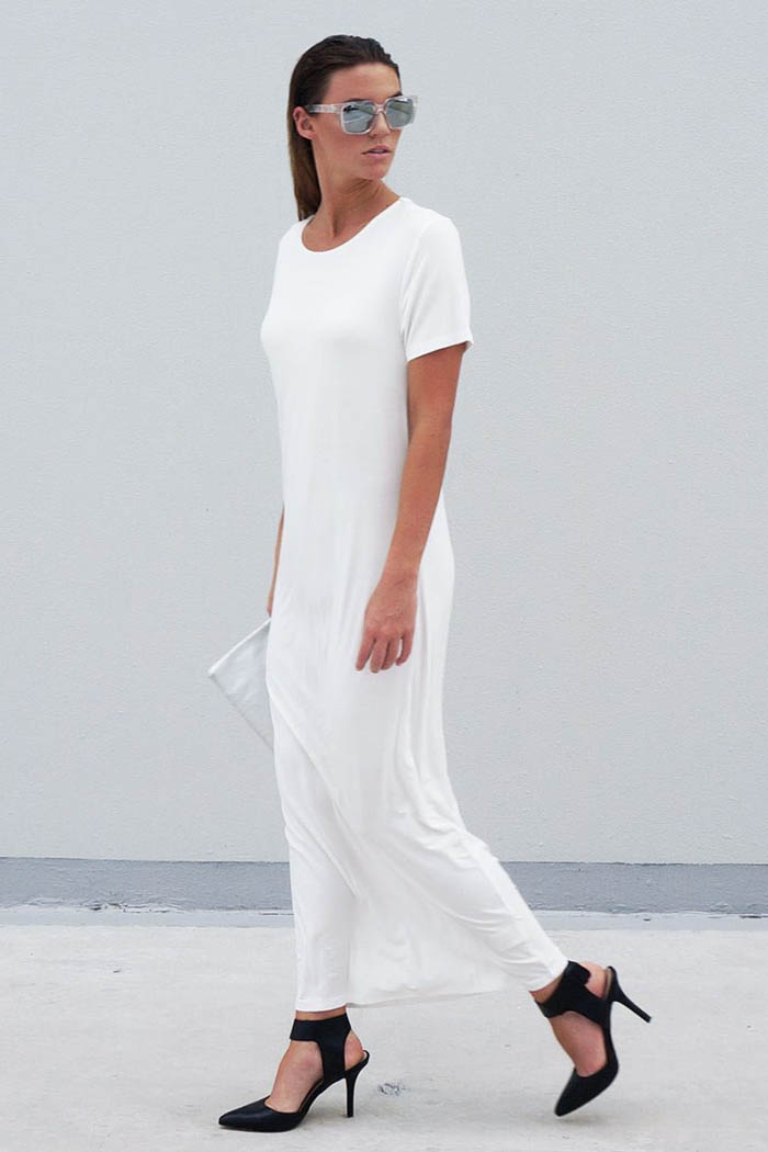 The Great Beyond Luna Long Dress White - Ethical Sustainable Basics Basic Wear