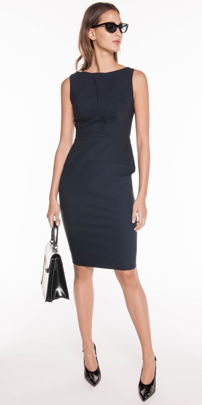 Cue Clothing Ethical Workwear Ink Double Weave Panelled Dress Corporatewear